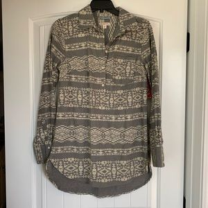 Aztec print half button up tunic